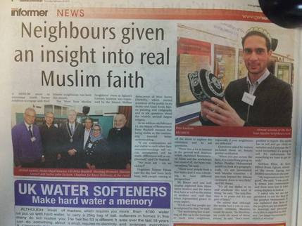 Press cutting of Meet Your Muslim Neighbour event, run by Runnymede